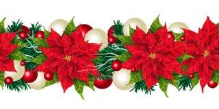 Frontière sans couture de Noël, d'isolement sur l'illustration blanche de vecteur Image stock