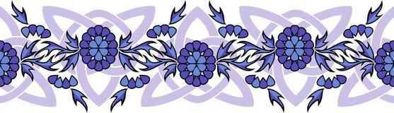 Frontière sans couture de vecteur avec des fleurs et des noeuds celtiques Photographie stock