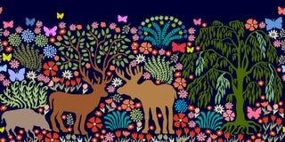 Frontière sans couture de vecteur avec les animaux et les arbres magiques Images libres de droits