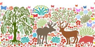 Frontière sans couture de vecteur avec les animaux et les arbres magiques Photos stock
