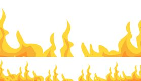 Frontière sans couture du feu, bannière D'isolement sur le fond blanc Illustration de vecteur Photo stock