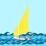 Frontière sans couture faite à partir des vagues et du yacht de mer avec la voile illustration libre de droits