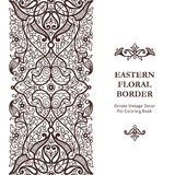 Frontière sans couture fleurie de vecteur dans le style oriental Photo stock