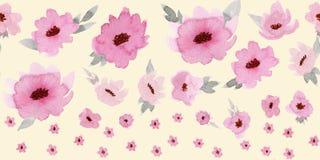 Frontière sans couture horizontale avec les fleurs roses en pastel sur le fond beige illustration stock