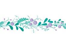 Frontière sans couture mignonne avec les éléments et les branches floraux tirés par la main Conception simple élégante Illustrati Photo libre de droits