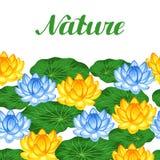 Frontière sans couture naturelle avec des fleurs et des feuilles de lotus Fond fait sans masque de coupage Facile à utiliser pour Image libre de droits
