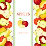 Frontière sans couture verticale d'Apple Dirigez la tranche entière de pommes de fruits rouges et verts de jaune de coposition de Images libres de droits