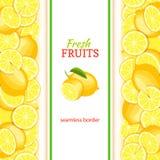 Frontière sans couture verticale de citron mûr Dirigez la carte d'illustration avec la tranche jaune fraîche juteuse de fruits de illustration stock