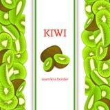 Frontière sans couture verticale de kiwi vert mûr Dirigez la carte d'illustration avec les kiwis frais juteux tranche, appet de c illustration stock
