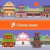 Frontière tileable de ville de la Chine illustration stock