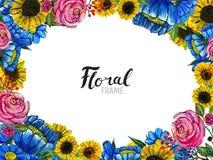 Frontière tirée par la main de fleur Photos libres de droits