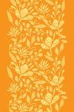 Frontière verticale de broderie florale d'or sans couture illustration de vecteur
