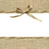 Frontières beiges d'arc et de textile de ruban de toile Photographie stock