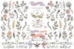 Frontières colorées de griffonnages, rubans, élément floral de décor ENV Images libres de droits