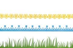Ressort - frontières de feutre, fleurs, tulipes bleues et herbe Photos stock