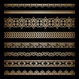 Frontières d'or réglées Photos stock
