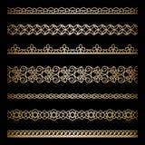 Frontières d'or réglées Image stock