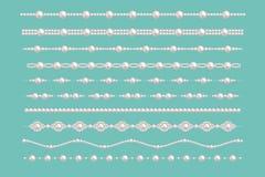 Frontières de charme de perle Dirigez les modèles de collier d'accessoires de vintage de perles de jeune mariée d'isolement sur l illustration de vecteur