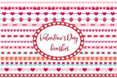 Frontières de jour de valentines réglées Coeur mignon, ornement de fleurs D'isolement sur le fond blanc illustration de vecteur
