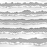 Frontières de papier Texture de papier avec le bord endommagé d'isolement sur le fond transparent Illustration de vecteur illustration de vecteur