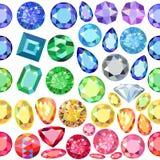 Frontières dispersées sans couture des gemmes, fausses pierres Image stock