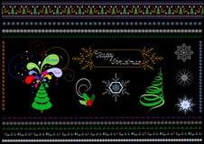 Frontières et modèles sur le thème de Noël Images stock