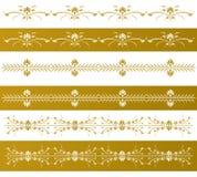 Frontières florales décoratives d'or Photo libre de droits