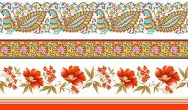 Frontières florales traditionnelles indiennes illustration stock