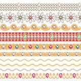Frontières horizontales sans couture de pierres gemmes colorées réglées Photo libre de droits