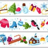 Frontières sans couture avec des objets d'hiver Articles de vacances de Joyeux Noël, de bonne année et symboles Image stock