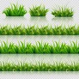 Frontières sans couture de vecteur d'herbe verte réglées Photographie stock libre de droits