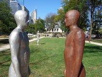 Frontières, une installation publique de sculpture  Image libre de droits
