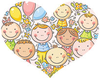 Fronti dei bambini in una forma del cuore Immagine Stock