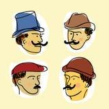 Fronti dei retro-mens con i baffi royalty illustrazione gratis