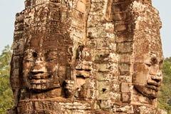 Fronti del tempiale di Bayon, Cambogia Fotografie Stock Libere da Diritti