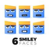 Fronti dell'emoticon messi Immagine Stock