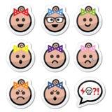 Fronti della neonata, icone dell'avatar messe Immagini Stock Libere da Diritti