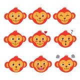 Fronti di emozione della scimmia Scimmie del ute del  del fumetto CInsieme di vettore Vettore sveglio dell'animale del fumetto Fotografie Stock Libere da Diritti