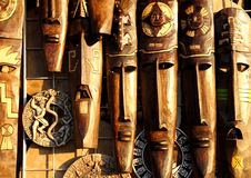 Fronti di legno handcrafted mascherina di legno messicana Fotografia Stock