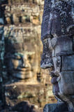 Fronti di pietra al tempio del bayon in Siem Reap, Cambogia 10 Fotografie Stock