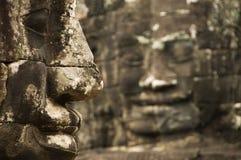 Fronti di pietra, tempio di Bayon, Angkor Wat, Cambogia Fotografia Stock Libera da Diritti