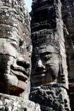 Fronti di pietra, tempio di Bayon Fotografie Stock