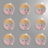 Fronti di vetro di emozioni Illustrazione di Stock