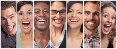 Fronti felici della gente messi Fotografia Stock Libera da Diritti