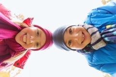 Fronti felici della ragazza e del ragazzo Fotografie Stock Libere da Diritti