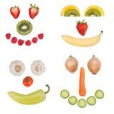 Fronti felici della verdura e della frutta Fotografia Stock Libera da Diritti