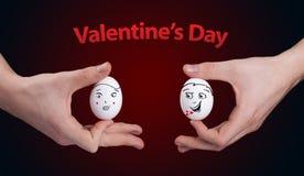 Fronti felici di smiley sul tema di giorno dei biglietti di S. Valentino Fotografia Stock Libera da Diritti