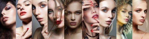Fronti femminili differenti Collage di belle donne immagine stock