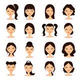 Fronti graziosi delle giovani donne graziose con differenti acconciature Fotografie Stock