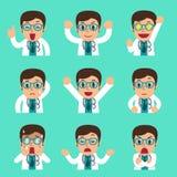 Fronti maschii di medico del fumetto che mostrano le emozioni differenti Fotografia Stock Libera da Diritti